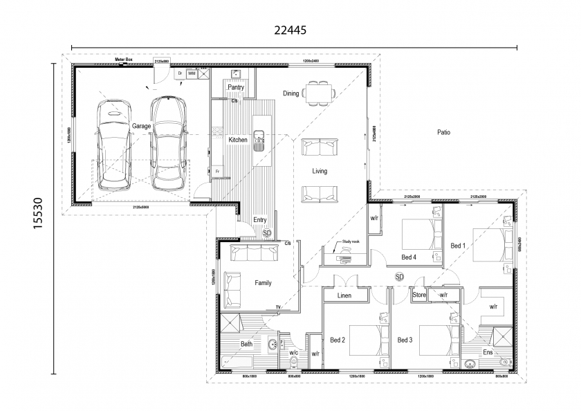 St Clair 4 bedroom 2 bathroom 2 garage floor plan